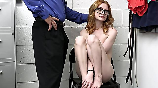 Shy chick Scarlet Skies with glasses gets fucked on the table
