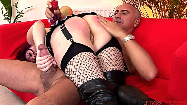 Redhead chick Shay in fishnet stockings gets spanked and fucked