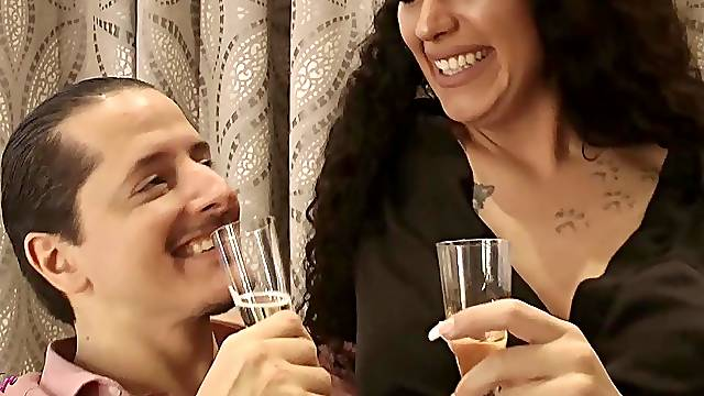 German HAPPY NEW YEAR homemade couple amateur