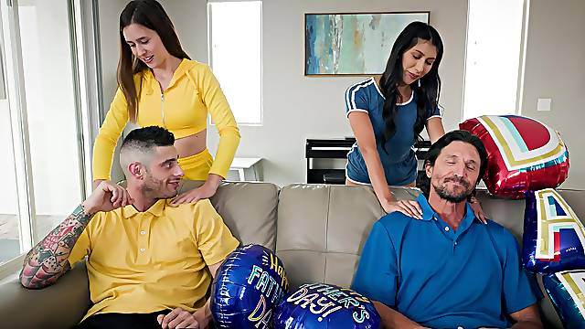 Massage leads to foursome with Penelope Woods and Kourtney Rae