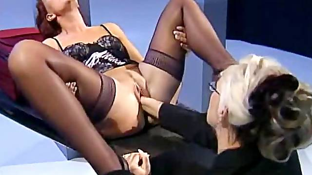 Beautiful German mistress fists lingerie submissive
