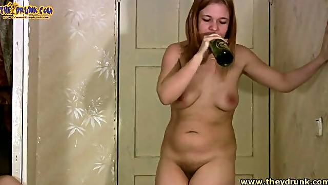 Girl drinks and vomits in the toilet
