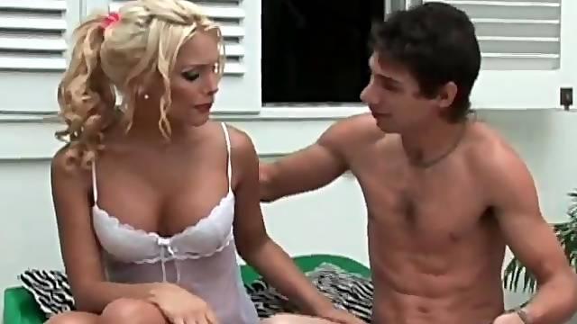 Hot blonde shemale in white lingerie sucks dick