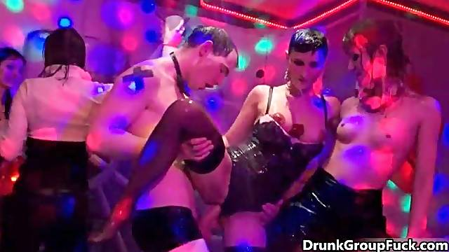 Horny drunk girls are getting hard cock in a group fuck orgy