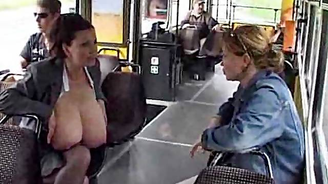 Huge tit chick milking on the bus