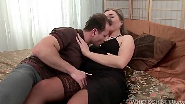 High lace top stockings on cocksucking milf