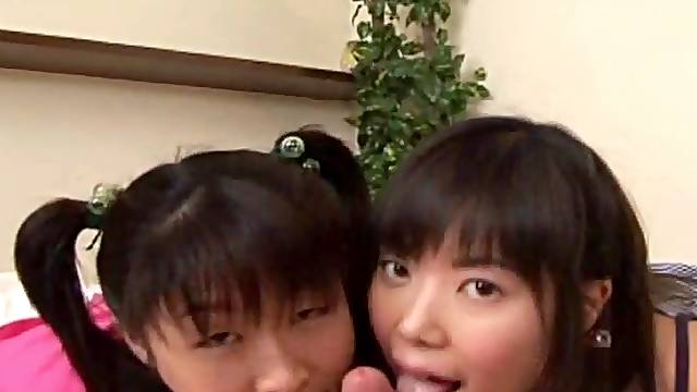 Japanese teens team up for blowjob Uncensored