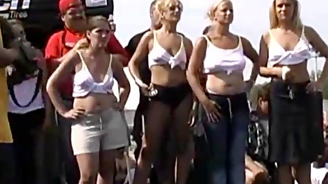 Film from a public wet tee shirt contest