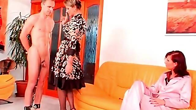 Mistresses in satin get off on abusing him