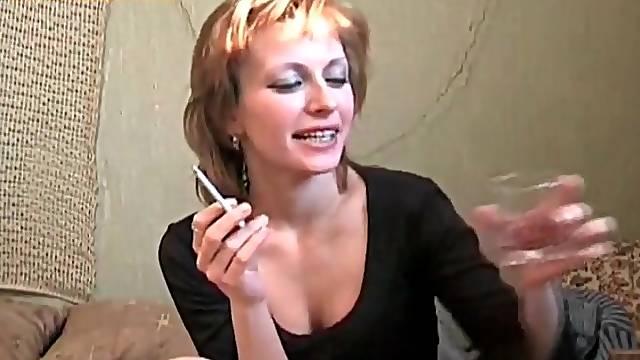 Little black dress on drunk Russian slut