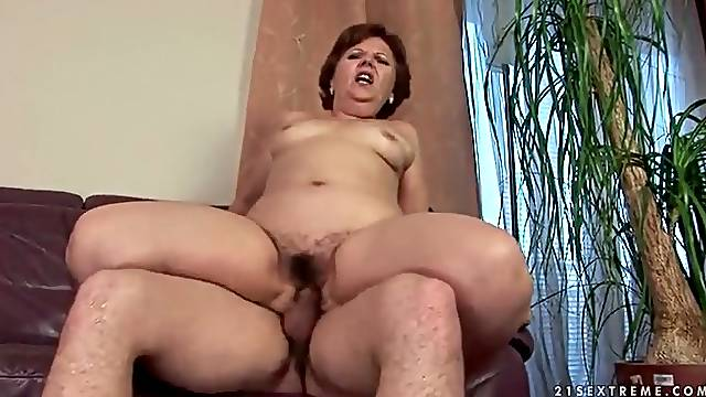 Passionate old young sex with chubby mature