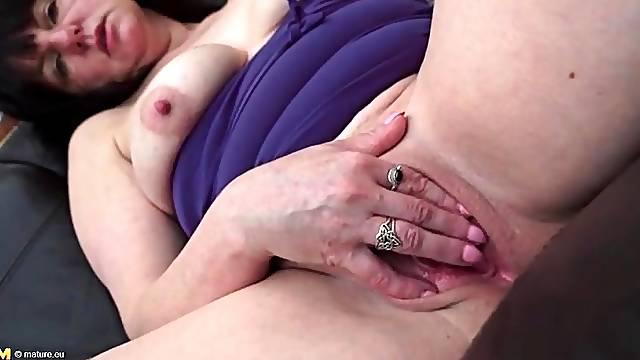 Mom with a clit ring masturbates solo