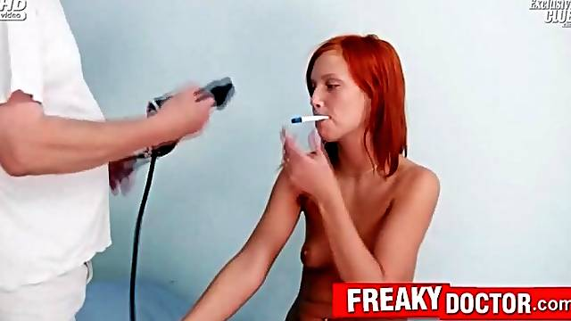 Redhead teen gets medical exam from doctor