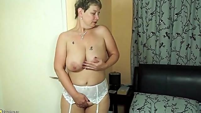 White stockings and garter belt on hot mature