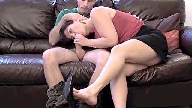 Sexy wife stroke and suck on the couch