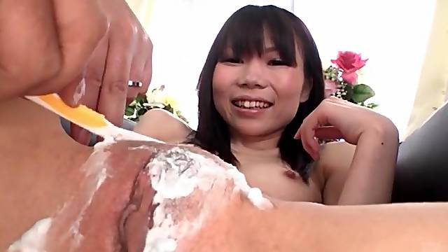 Careful shaving of her Japanese pussy and asshole