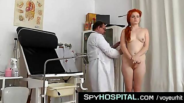 Cute redhead here for her gyno exam