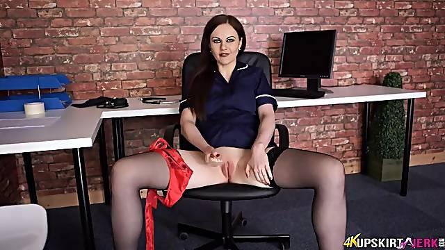 Panty flashing hottie gives you erotic JOI