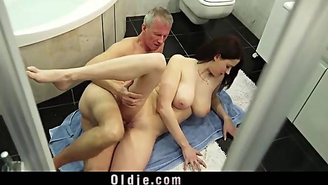 Big tits young lady loves old man dick