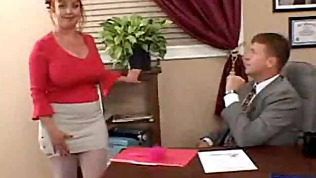 Slutty big tits redhead secretary taken
