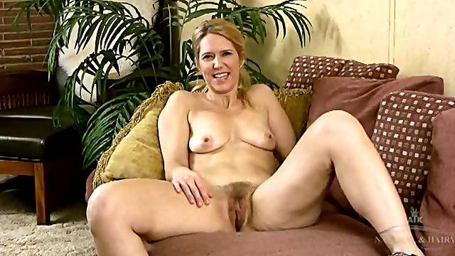Small mature tits look sexy on the hairy blonde