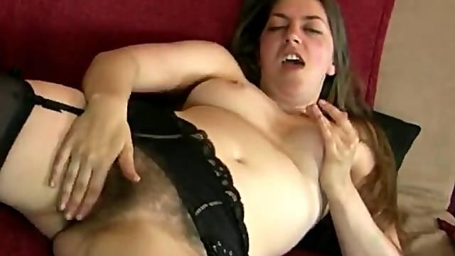 Garter belt and stockings babe has a nice bush