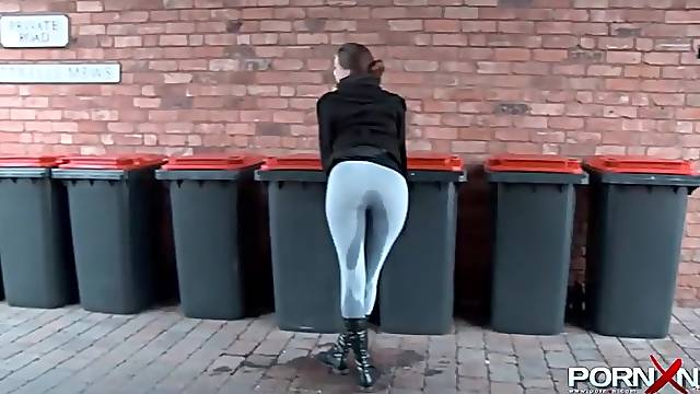 English girl pissing and flashing in public