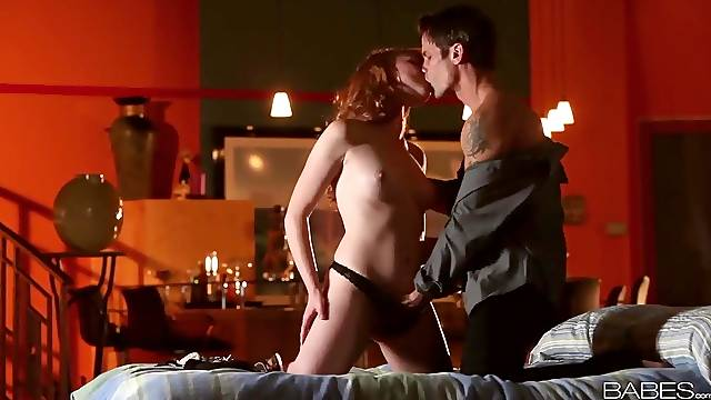 Redhead Marie McCray makes sweet oral love to her man