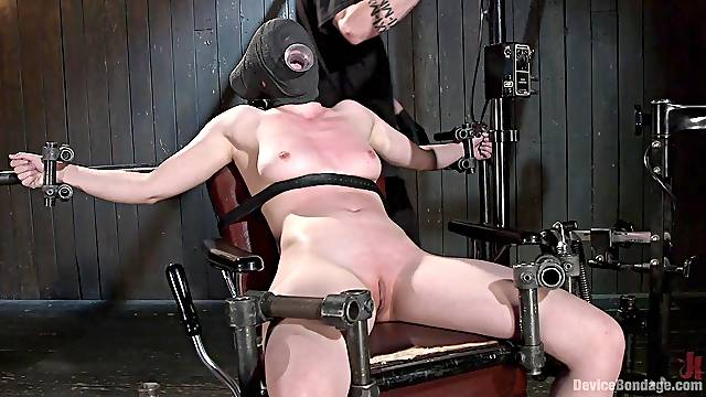 Naked whore gets blind folded and brutally clamped in BDSM game
