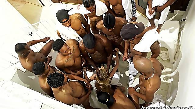 Black thugs wait their turn to bang this MILf merciless