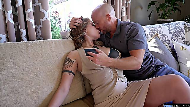 Bald dude roughly fucked elegant woman before jizzing her boobs