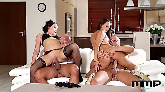 Married women swap their men in a fantastic couch foursome