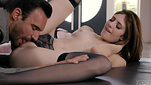 Sweet lingerie model licks and fucks the heavy dong until the last drops