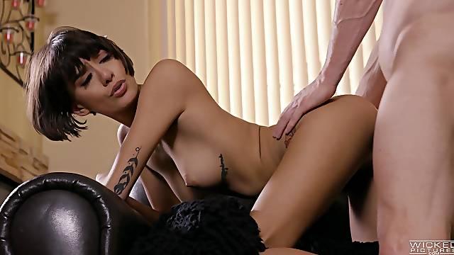 Slim Latina beauty rides her man like a goddes
