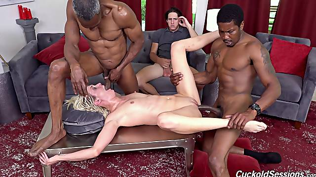 Black men roughly fuck man's wife in front of his eyes