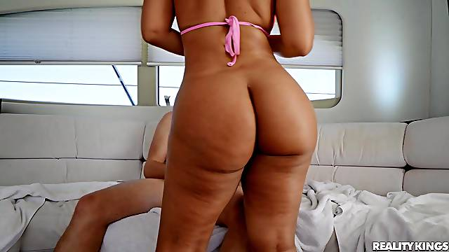Chubby ass MILF sure loves the young dong hammering her tiny holes