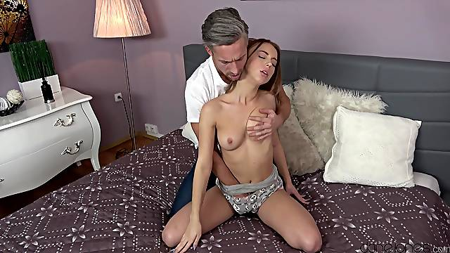 First time step daddy cums on her pink little cherry