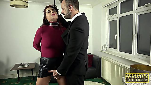 Fucked in the pussy after the master gags her and spanks her tits
