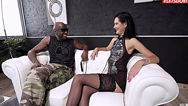 Fine woman plays submissive during insane anal XXX interracial