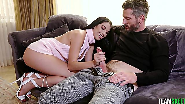 FFM threesome in the bedroom with Alex Coal and her best friend