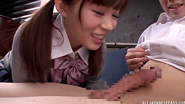 Japanese babe shows off fingering and sucking dick