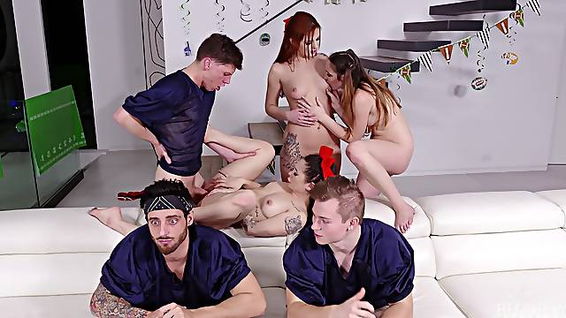 Group sex with the college sluts in scenes of perfect orgy