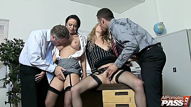 Insolent babes shared and roughly fucked in a dirty foursome