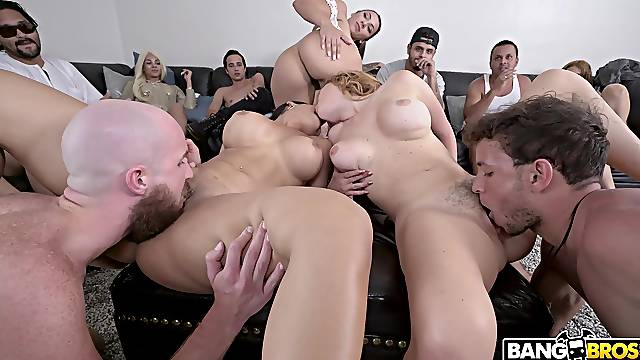 Orgy leads married women to swallow a lot