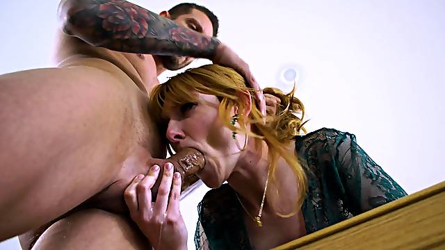 Gagged redhead is ready for a rough pussy round