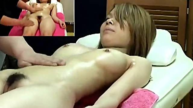 He has fun playing with her Japanese pussy