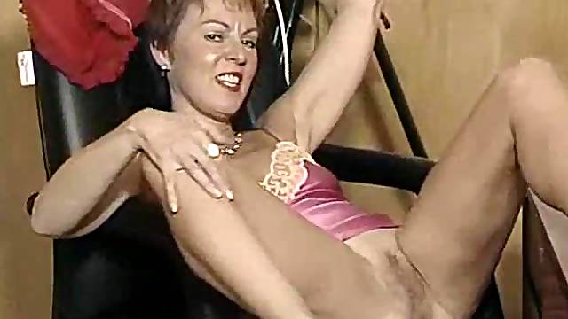 British mature in satin lingerie playing with her pussy
