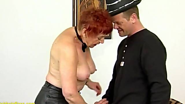 Horny redhead german 78 years old grandma enjoys her first rough and deep fisting lesson