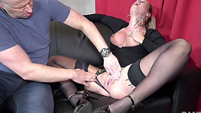 Horny blonde wife Ashley in high heels gets fucked hard by her man