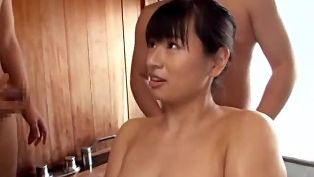 Big butt Japanese girl Hana Haruna gets a fucked by lot of dudes